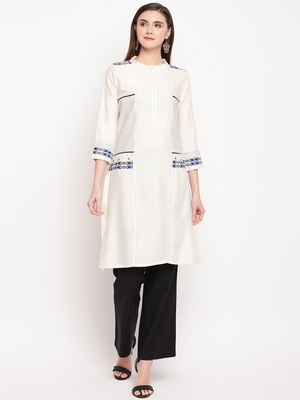 White Embroidery With Print  Staright Kurti