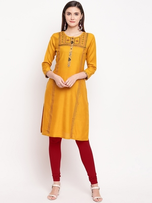 Mustard Embroidery With Print  Staright Kurti