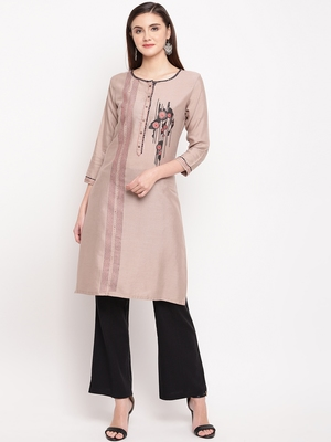 Beige Embroidery With Print  Staright Kurti