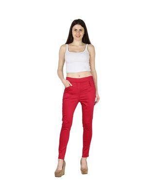 red plain cotton jegging