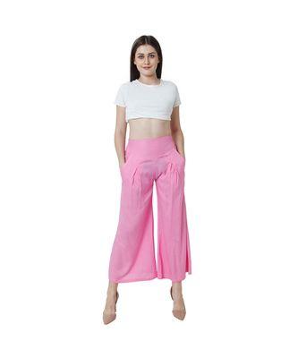 pink plain Reyon trousers