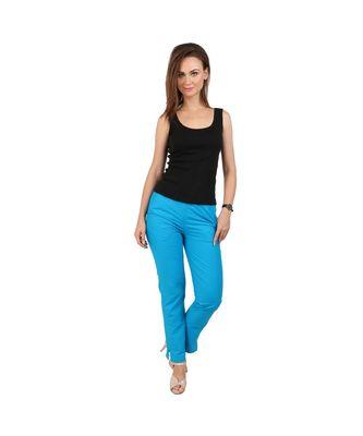 blue plain Cotton trousers
