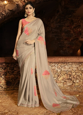 Beige brasso pure fancy fabric saree with blouse