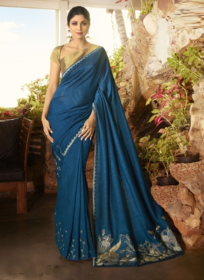Blue brasso pure fancy fabric saree with blouse