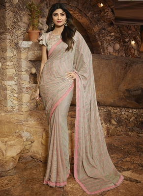 Grey Brasso Pure Fancy Fabric Saree With Blouse