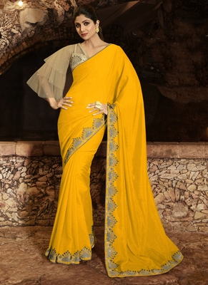 Yellow brasso pure fancy fabric saree with blouse