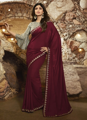 Maroon Brasso Pure Fancy Fabric Saree With Blouse