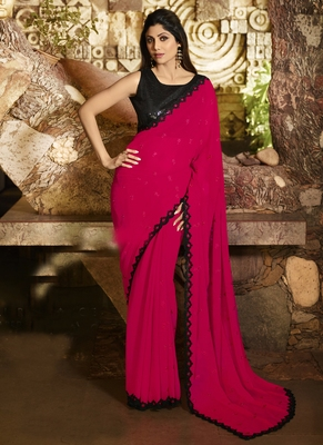 Pink brasso pure fancy fabric saree with blouse