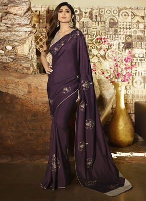 Purple brasso pure fancy fabric saree with blouse
