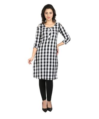 white printed cotton kurti