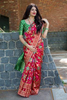Ruby woven banarasi silk saree with blouse