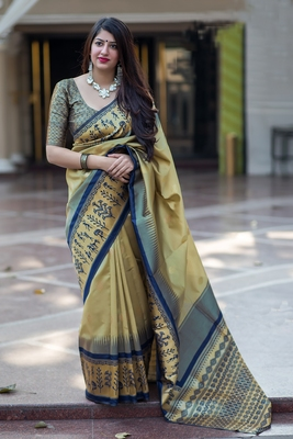 Coffee woven banarasi silk saree with blouse