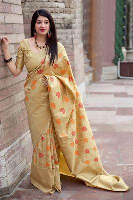 Cream woven pure silk saree with blouse