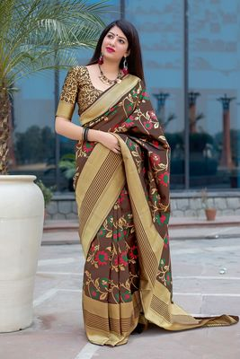 Brown woven pure silk saree with blouse