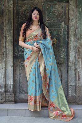 Sky blue woven pure silk saree with blouse