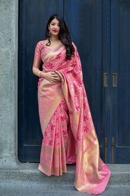 Pink woven pure silk saree with blouse