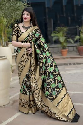 Black woven pure silk saree with blouse