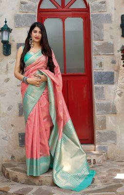 Light pink woven banarasi silk saree with blouse