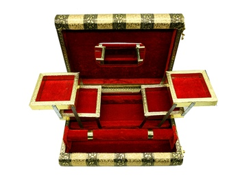 Handmade Oxidized Wooden Jewelry Box 1 Roll Bangle with 5 Compartment