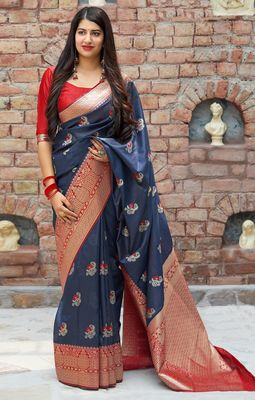 Light blue woven banarasi silk saree with blouse