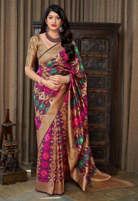 Wine woven banarasi silk saree with blouse