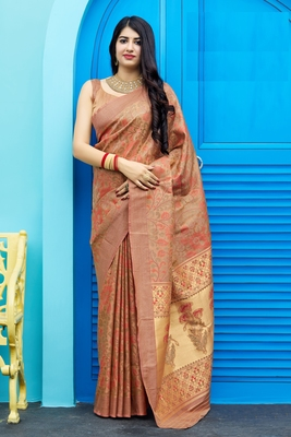 Chiku woven banarasi silk saree with blouse