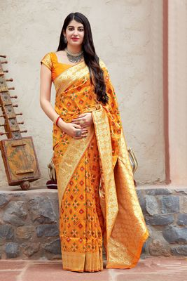 Mustard woven banarasi silk saree with blouse