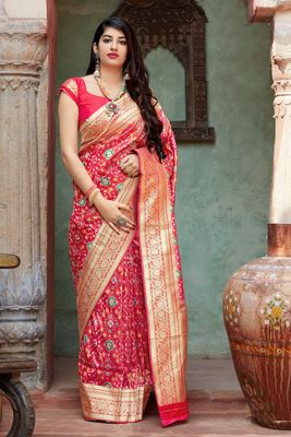 Dark coral woven banarasi silk saree with blouse