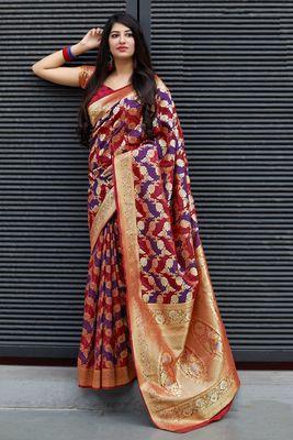 Multicolor woven banarasi silk saree with blouse