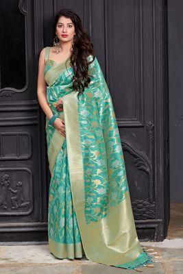 Light turquoise woven banarasi silk saree with blouse