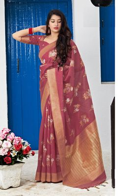 Light maroon woven banarasi silk saree with blouse