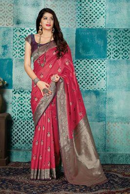 Dark coral woven banarasi silk saree with blouse