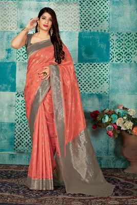 Peach woven banarasi silk saree with blouse