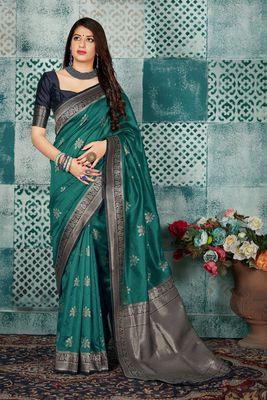 Dark turquoise woven banarasi silk saree with blouse
