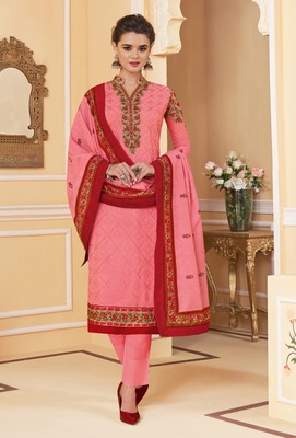 Peach embroidered faux georgette salwar