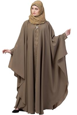 Beige double layer front open kaftan abaya beige color