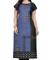 Grey Printed Crepe Kurtas-And-Kurtis