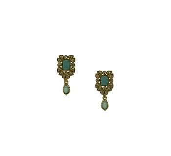 Aqua-blue cubic zirconia earrings