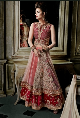 Red embroidered net salwar