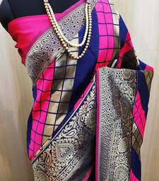 Pink And  Blue woven banarasi saree with blouse