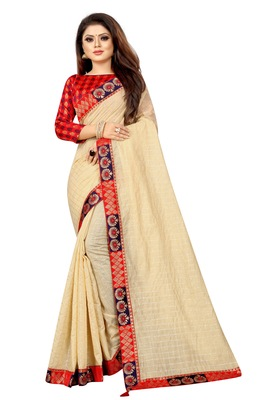 Cream woven pure poly cotton saree with blouse