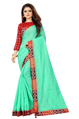 Green woven pure poly cotton saree with blouse