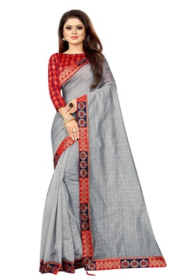 Grey woven pure poly cotton saree with blouse