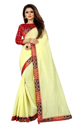 Light yellow woven pure poly cotton saree with blouse