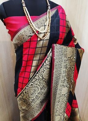 Red And Black woven banarasi saree with blouse