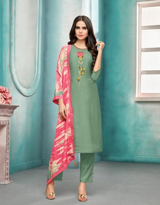 Green printed silk salwar