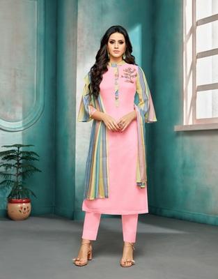 Light-pink printed silk salwar