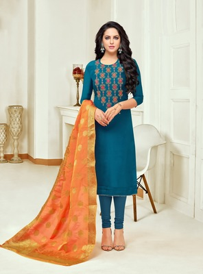 Blue printed silk salwar