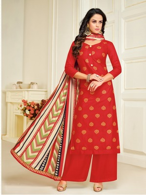 Red printed silk salwar