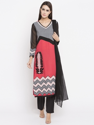 Coral printed cotton salwar